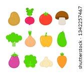organic raw vegetable... | Shutterstock .eps vector #1342257467