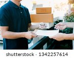 young asian delivery staff... | Shutterstock . vector #1342257614