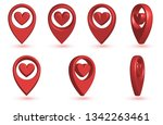 3d map pointer with heart icon. ... | Shutterstock .eps vector #1342263461