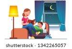 mother reading bedtime story... | Shutterstock .eps vector #1342265057