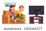 excited boy   girl kids sit on... | Shutterstock .eps vector #1342265177