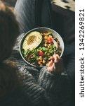 healthy vegetarian dinner.... | Shutterstock . vector #1342269821