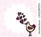 bird and hearts. vector... | Shutterstock .eps vector #1342289291