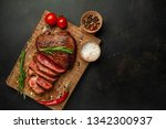 beef steak  herbs and spices... | Shutterstock . vector #1342300937