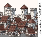 illustration of medieval city.... | Shutterstock .eps vector #1342311437