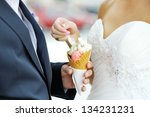 bride with an ice cream which... | Shutterstock . vector #134231231