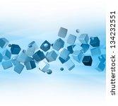 cube 3d blue technology | Shutterstock . vector #134232551