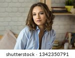 beautiful young blond woman in... | Shutterstock . vector #1342350791
