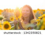 beautiful woman with long hair... | Shutterstock . vector #1342350821