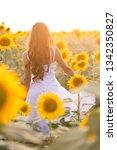 beautiful woman with long hair... | Shutterstock . vector #1342350827