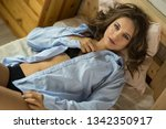 beautiful young blond woman in... | Shutterstock . vector #1342350917
