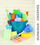 cleaning items in bucket on ... | Shutterstock . vector #134235431