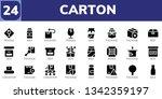 carton icon set. 24 filled...   Shutterstock .eps vector #1342359197