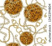 seamless pattern with golden... | Shutterstock .eps vector #1342394804