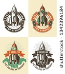 launch space rocket color retro ... | Shutterstock . vector #1342396184