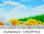 white wooden table with free...   Shutterstock . vector #1342397411