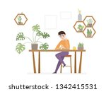 office workplace with man ... | Shutterstock .eps vector #1342415531
