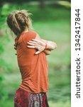girl in the park. doing yoga in ...   Shutterstock . vector #1342417844