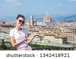 happy woman tourist in italy.... | Shutterstock . vector #1342418921