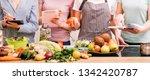 cooking classes. food preparing ... | Shutterstock . vector #1342420787