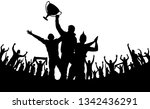 cheering fans with the cup... | Shutterstock .eps vector #1342436291