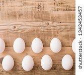 closeup on white eggs lying on...   Shutterstock . vector #1342453457