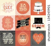 vintage wedding card  sticker... | Shutterstock .eps vector #134245901