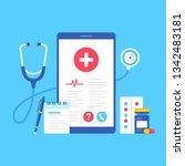 healthcare medical app. vector... | Shutterstock .eps vector #1342483181