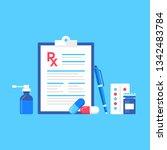 medical prescription. vector... | Shutterstock .eps vector #1342483784