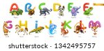 zoo alphabet. funny animals  3d ... | Shutterstock .eps vector #1342495757