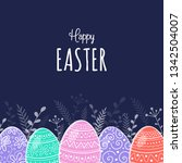 hand drawn easter greeting card ... | Shutterstock .eps vector #1342504007