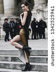 Small photo of Paris, France - February 28, 2019: Street style outfit - Theodora Quinlivan before a fashion show during Paris Fashion Week - PFWFW19