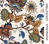 vintage seamless pattern.... | Shutterstock .eps vector #1342527584