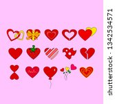 love symbol. set of heart.... | Shutterstock .eps vector #1342534571