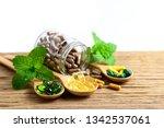 herbal medicine  oil capsule...   Shutterstock . vector #1342537061
