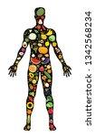 set of fruit and vegetable... | Shutterstock .eps vector #1342568234