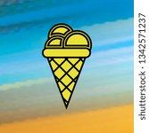 ice cream in waffle cone mono...