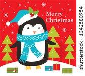 penguin christmas greeting card ... | Shutterstock .eps vector #1342580954