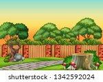 a nature garden scene... | Shutterstock .eps vector #1342592024