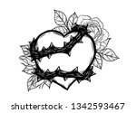 heart with rose vine vector by... | Shutterstock .eps vector #1342593467