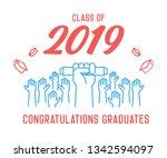 graduation day. class of 2019... | Shutterstock .eps vector #1342594097