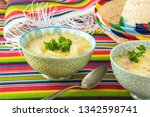 bowls with fiesta ham soup on a ... | Shutterstock . vector #1342598741