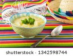 bowl with fiesta ham soup on a... | Shutterstock . vector #1342598744