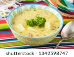bowl with fiesta ham soup on a... | Shutterstock . vector #1342598747