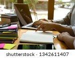 students helps friend teaching... | Shutterstock . vector #1342611407