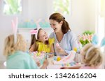 mother and kids color easter... | Shutterstock . vector #1342616204
