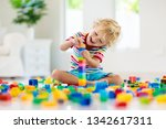 child playing with colorful toy ...   Shutterstock . vector #1342617311