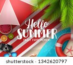 hello summer vector banner... | Shutterstock .eps vector #1342620797