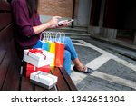woman using smartphone for... | Shutterstock . vector #1342651304