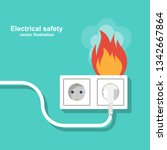 fire wiring. socket and plug on ... | Shutterstock .eps vector #1342667864